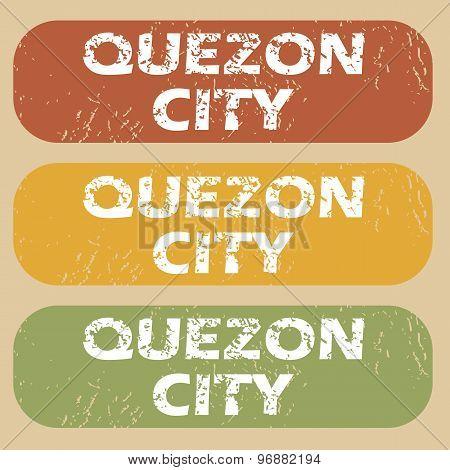Vintage Quezon City stamp set