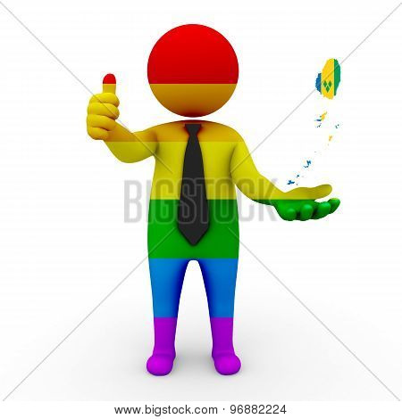 3d businessman people LGBT - with a map of the flag of Saint Vincent and the Grenadines