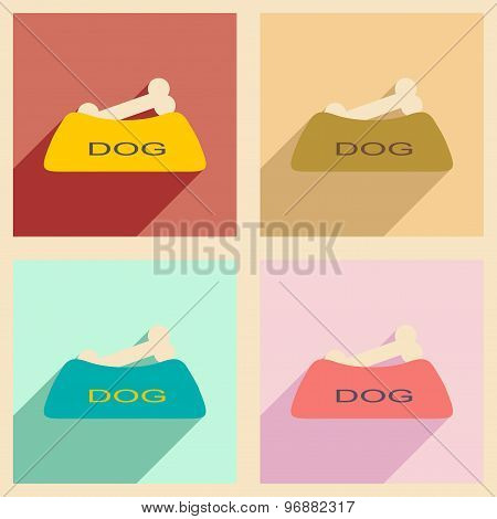 Flat with shadow concept and mobile application dog bowl
