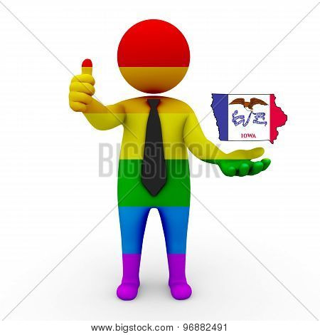 3d businessman people LGBT - with a map of the flag of Iowa