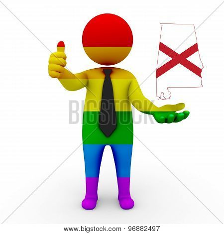 3d businessman people LGBT - with a map of the flag of Alabama