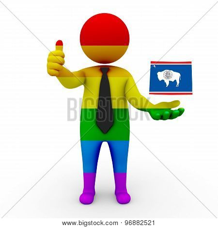 3d businessman people LGBT - with a map of the flag of Wyoming