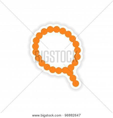 icon sticker realistic design on paper rosary