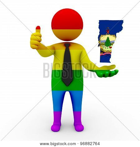 3d businessman people LGBT - with a map of the flag of Vermont
