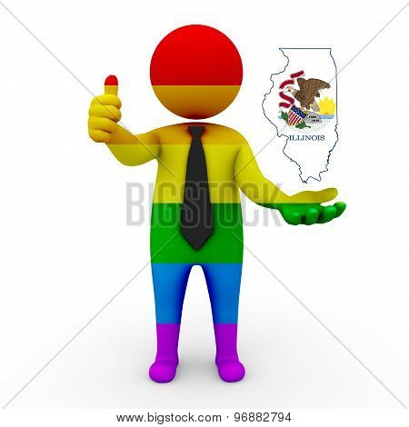 3d businessman people LGBT - with a map of the flag of Illinois