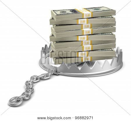 Stack of money in bear trap
