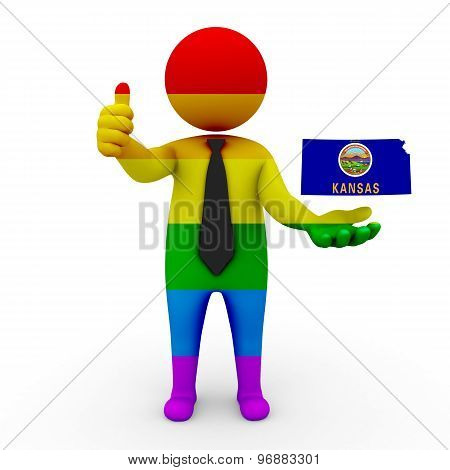 3d businessman people LGBT - with a map of the flag of Kansas