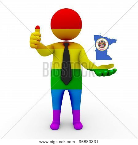 3d businessman people LGBT - with a map of the flag of Minnesota