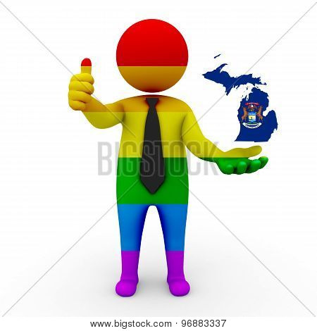 3d businessman people LGBT - with a map of the flag of Michigan