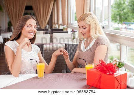 Attractive young woman are resting in cafe