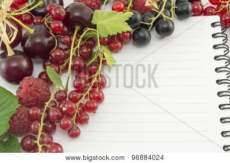 Colorful Red Berry Fruit Arranged Around Notebook
