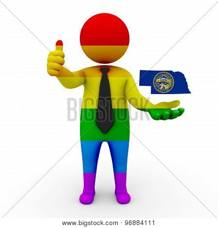 3d businessman people LGBT - with a map of the flag of Nebraska