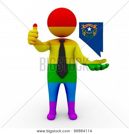 3d businessman people LGBT - with a map of the flag of Nevada