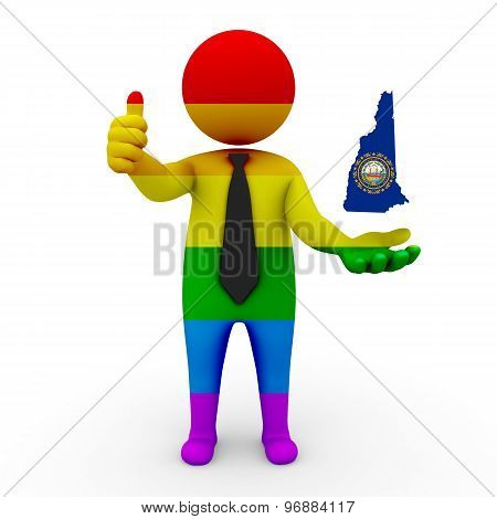 3d businessman people LGBT - with a map of the flag of New Hampshire