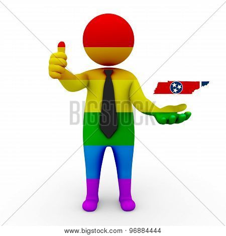 3d businessman people LGBT - with a map of the flag of Tennessee