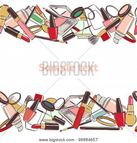 Seamless horizontal pattern Makeup And Beauty Cosmetics.