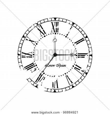 Vintage old clock dial.