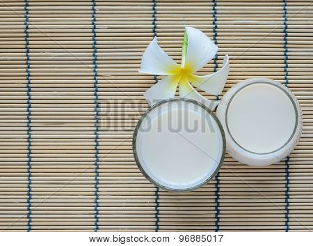 Top View Of Fresh Soy Milk In A Glass