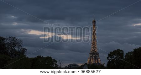 Eiffel Tower In Paris, France Sparkeling At Night