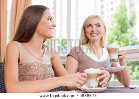 Attractive young female friends are enjoying their talk