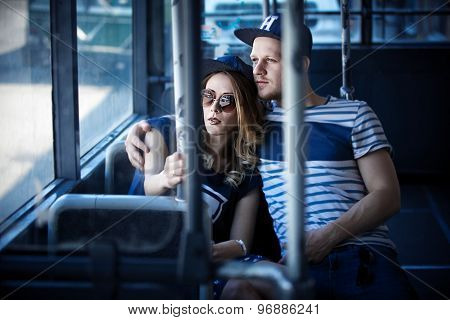 stylish couple  love in the transport, retro style