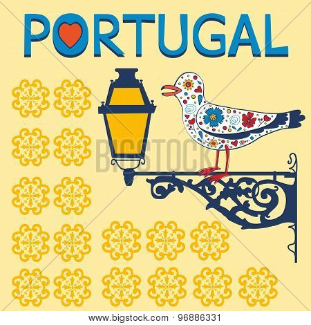 Concept card with tipical portuguese lantern and floral seagull