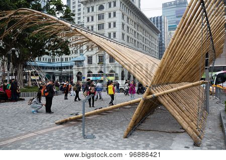 HONG KONG - CIRCA FEBRUARY, 2015: Sculptural composition bamboo near Avenue of Stars in Kowloon in Hong Kong.