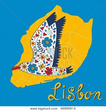 Colorful card with map of Lisbon and seagull