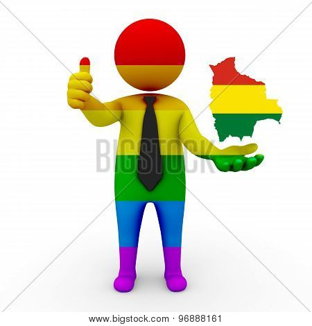 3d businessman people LGBT - with a map of the flag of Bolivia