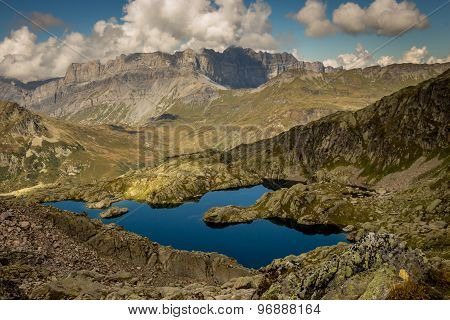 Blue mountain lake in the Alps