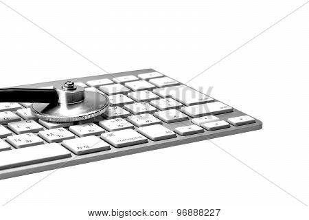 Stethoscope And Multilingual  Wireless Keyboard Isolated On White