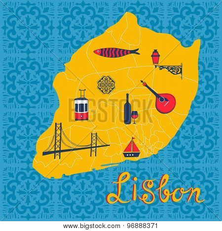 Colorful stylized map of Lisbon with tipical icons and illustrations