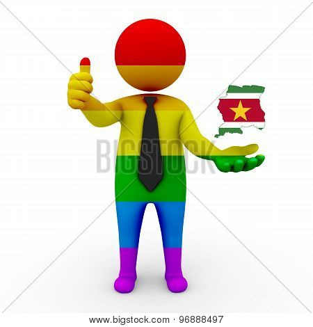 3d businessman people LGBT - with a map of the flag of Surinam