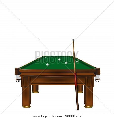 Billiard table with balls.
