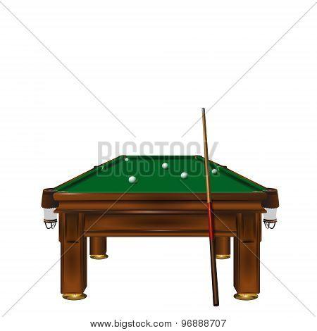 Billiard table with balls.