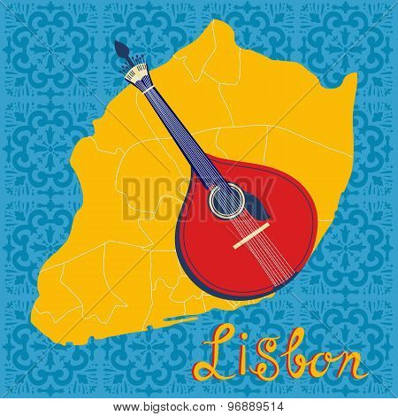 Tipical portuguese fado guitar over Lisbon map and azulejo tiles background