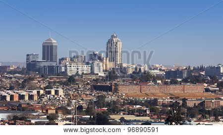 Sandton, Gauteng, South Africa - July 17, 2015: Cityscape looking Northwest towards the Sandton skyl