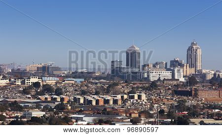 Sandton, Gauteng, South Africa - July 17, 2015: Cityscape looking Northwest towards Sandton.