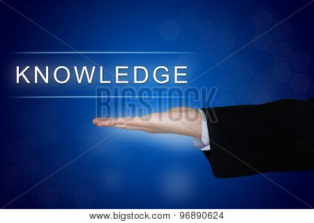 Knowledge Button On Blue Background