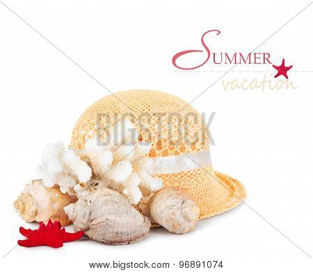 Pretty Straw Hat With Starfish, Pebble And  Mussel