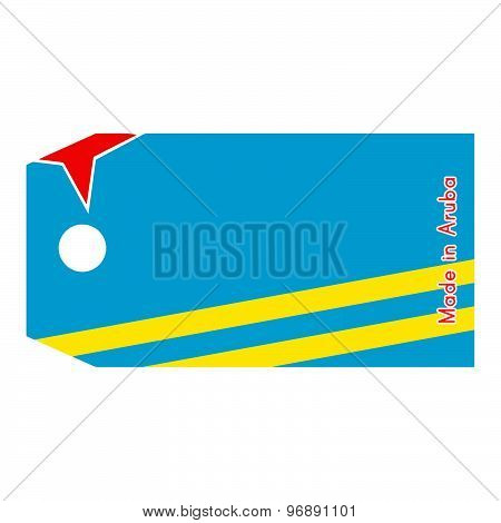 Aruba Flag On Price Tag With Word Made In Aruba Isolated On White Background