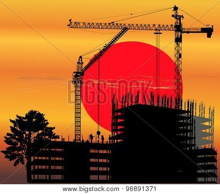 illustration with house building at red sunset