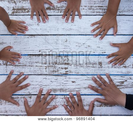 White wood with hands circle copy space