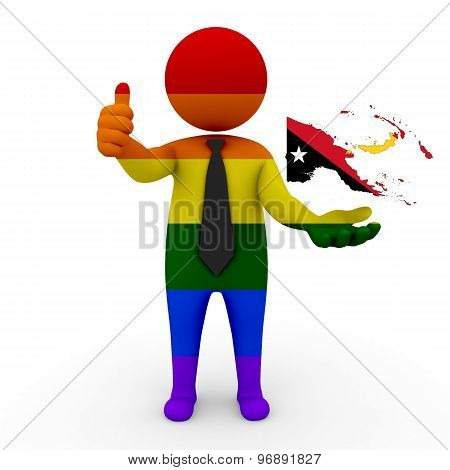 3d businessman people LGBT - with a map of the flag of Papua New Guinea