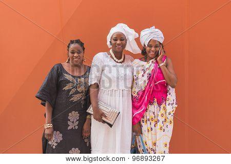 African Women Posing At Expo 2015 In Milan, Italy
