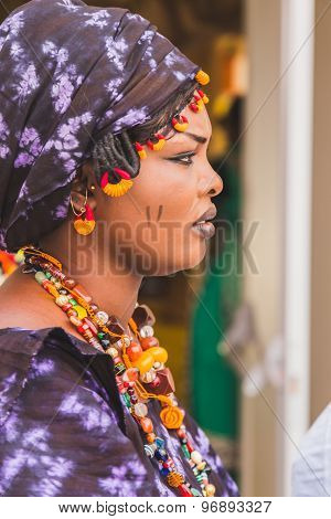 African Woman Posing At Expo 2015 In Milan, Italy