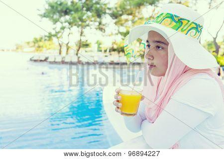 At summer vacation drinking juice