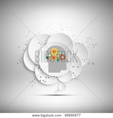 Vector icon of human head with gears