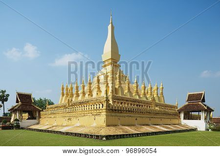 Exterior of the Pha That Luang stupa in Vientiane, Laos.