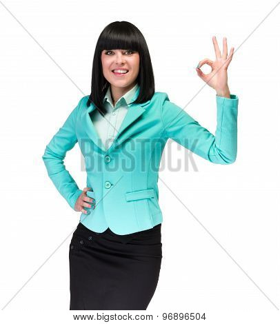 Business woman with an ok sign, isolated over white
